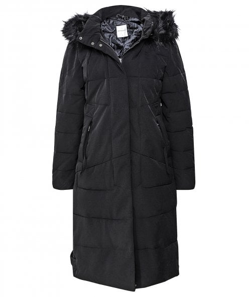 Rino and Pelle Tamma Faux Fur Trim Long Puffer Coat