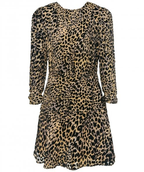 RIXO Kyla Silk Leopard Print Mini Dress