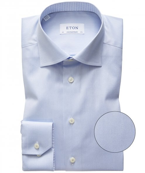 Eton Contemporary Fit Patterned Trim Shirt