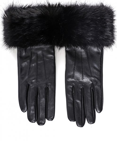 Barbour Faux Fur Trim Leather Gloves