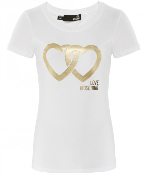 Moschino Love Moschino Metallic Logo Cotton Jersey T-Shirt