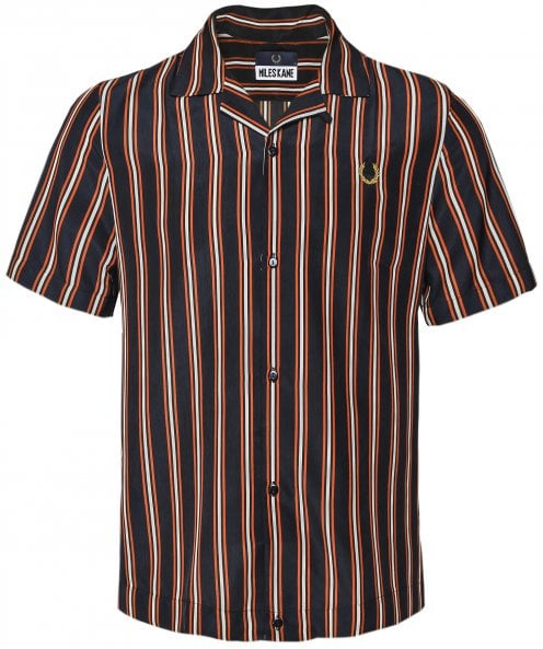Fred Perry Miles Kane Short Sleeve Striped Bowling Shirt SM7018 I84