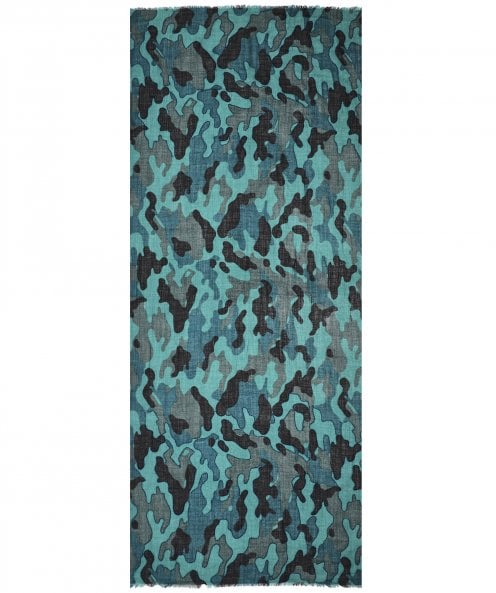 Ahujasons Camouflage Print Wool & Silk Blend Scarf
