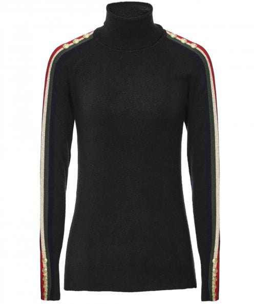Holland Cooper Buttoned Roll Neck Stripe Jumper