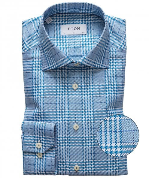 Eton Slim Fit Prince of Wales Check Shirt