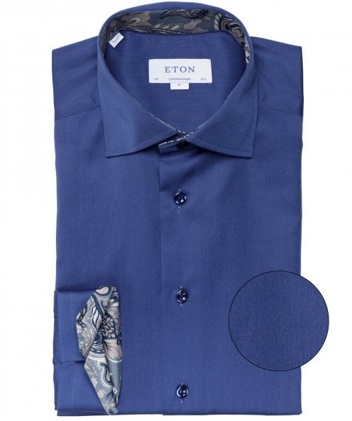 Eton Contemporary Fit Floral Trim Shirt