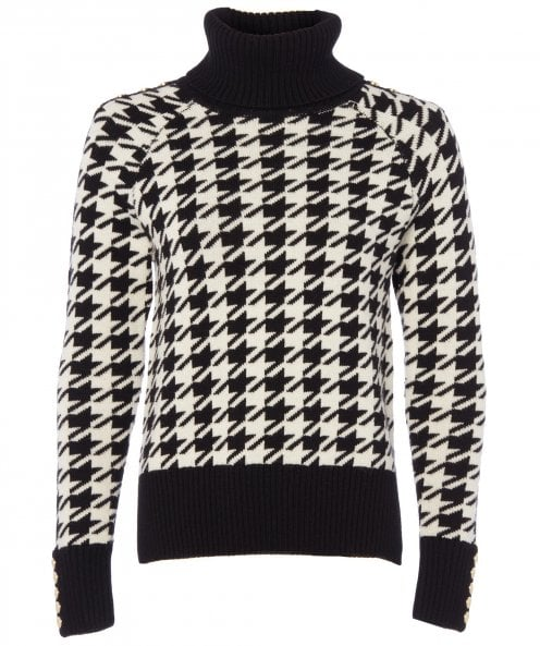 Holland Cooper Wool Blend Houndstooth Fitted Knit