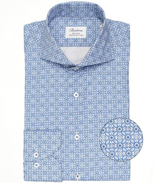 Stenstroms Fitted Body Geometric Pattern Shirt