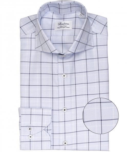 Stenstroms Fitted Body Grid Check Shirt