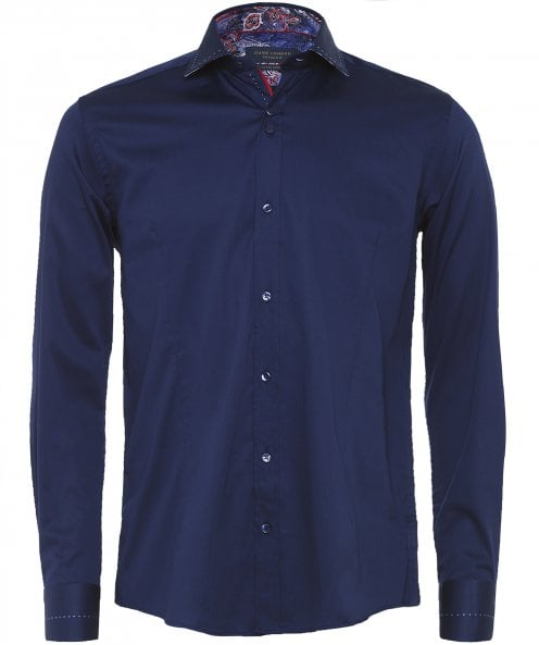 Guide London Stretch Fit Paisley Trim Shirt
