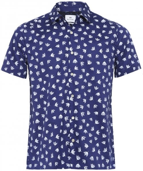 Paul Smith Casual Fit Short Sleeve Floral Umbrella Shirt