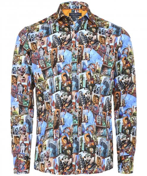 Guide London Slim Fit Collage Print Shirt