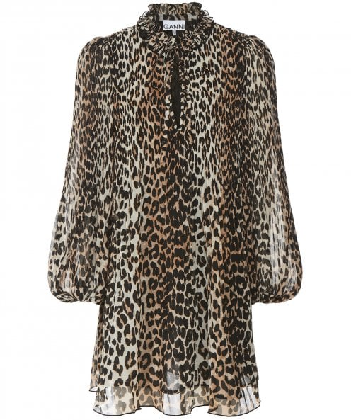 Ganni Pleated Leopard Print Georgette Mini Dress
