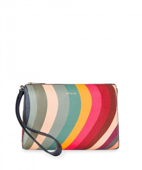 Paul Smith Swirl Print Leather Zip Pouch