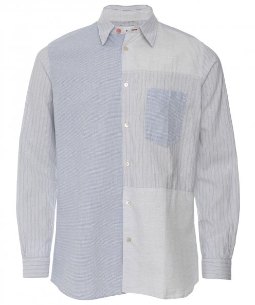 Paul Smith Casual Fit Linen Blend Patchwork Shirt