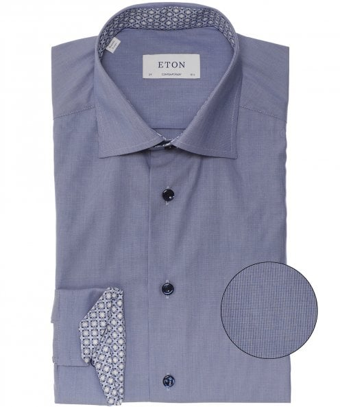 Eton Contemporary Fit Geometric Trim Shirt
