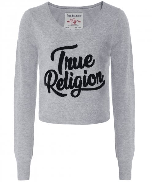 True Religion Cropped Logo Sweater