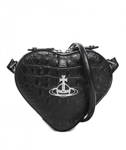 Vivienne Westwood Accessories Leather Mock Croc Johanna Heart Bag