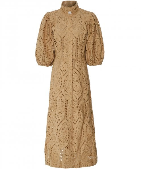 Ganni Broderie Anglaise Puff Sleeve Dress