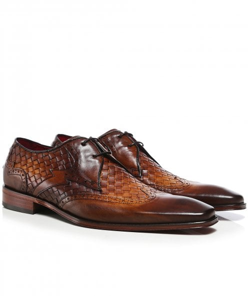 Jeffery-West Woven Leather Wing-Tip Scarface Shoes
