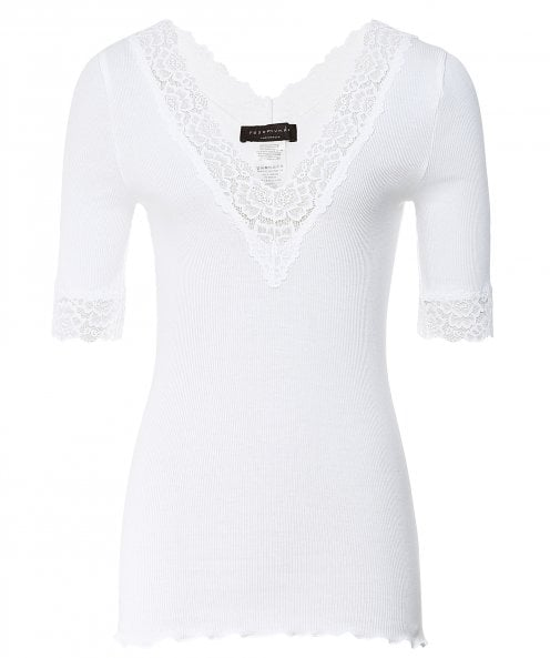 Rosemunde Bernadine Cropped Sleeve Lace Trim Top