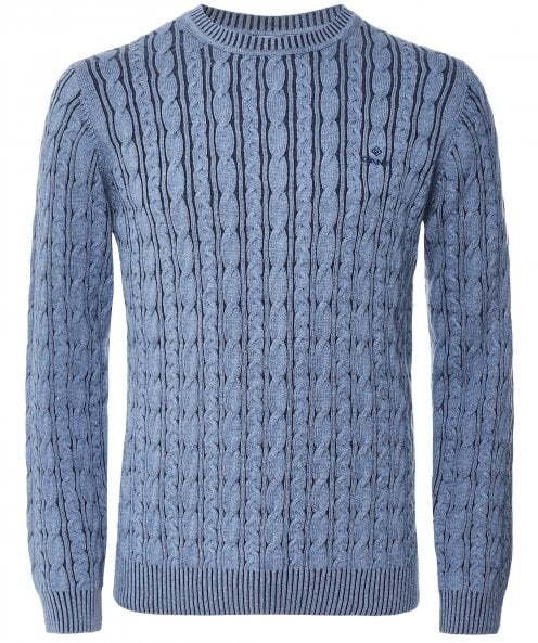 GANT Crew Neck Sunfaded Cable Knit Jumper