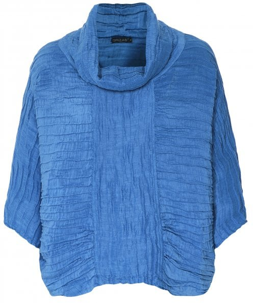 Grizas Linen & Silk Crinkled Cowl Neck Top