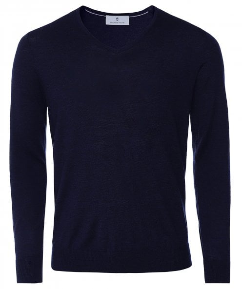 Thomas Maine Merino Wool V-Neck Jumper