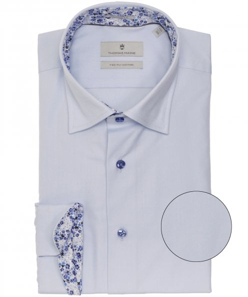 Thomas Maine Tailored Fit Micro Floral Trim Bergamo Shirt