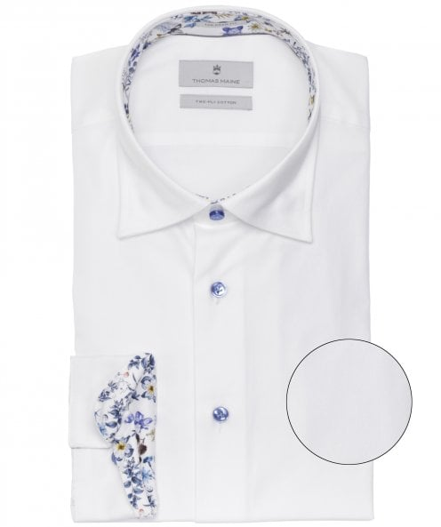 Thomas Maine Tailored Fit Floral Trim Bergamo Shirt
