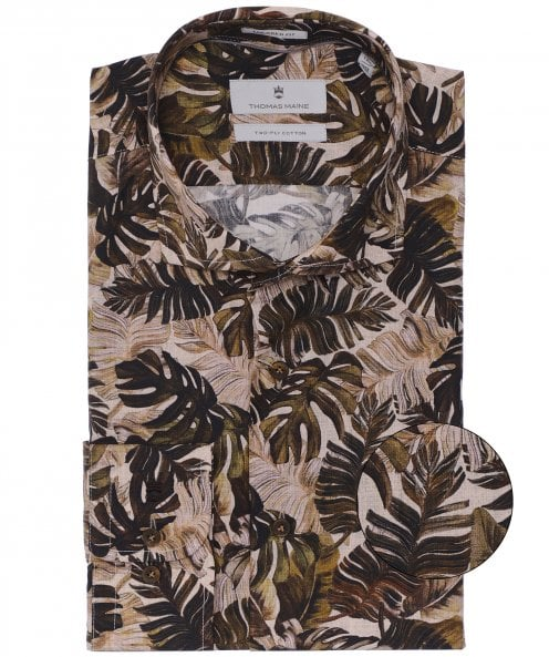 Thomas Maine Tailored Fit Palm Print Roma Shirt