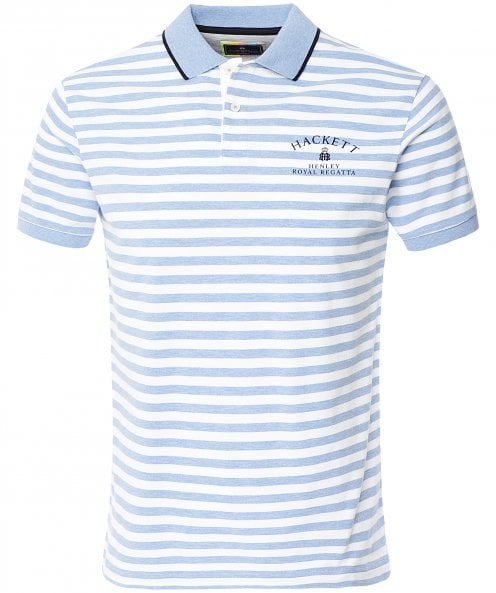 Hackett Striped Henley Royal Regatta Polo Shirt