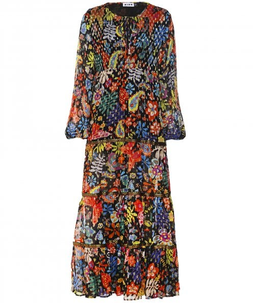 RIXO Lori Embroidered Floral Midaxi Dress