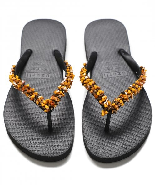 Uzurii Honey Beaded Flip Flops