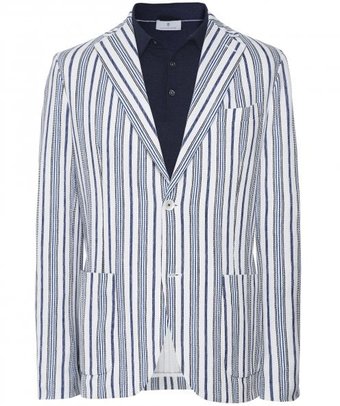Circolo 1901 Stretch Oxford Cotton Striped Print Jacket