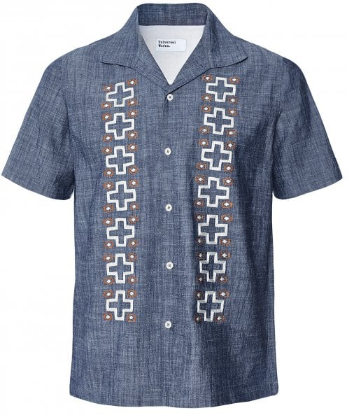 Universal Works Slim Fit Chambray Open Collar Shirt