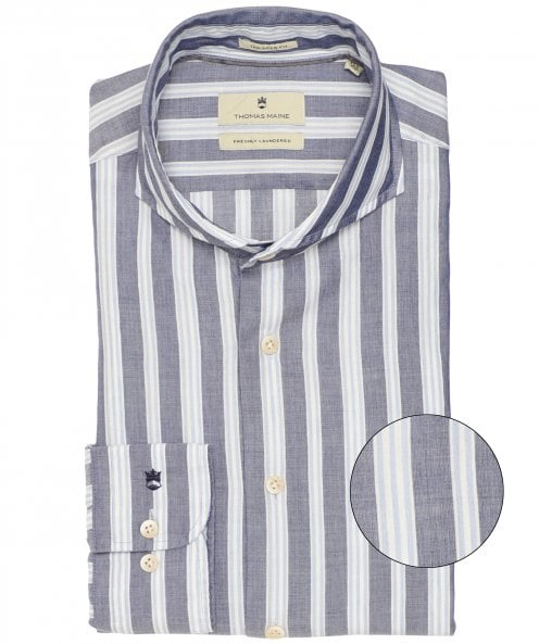 Thomas Maine Tailored Fit Linen Striped Bari Shirt