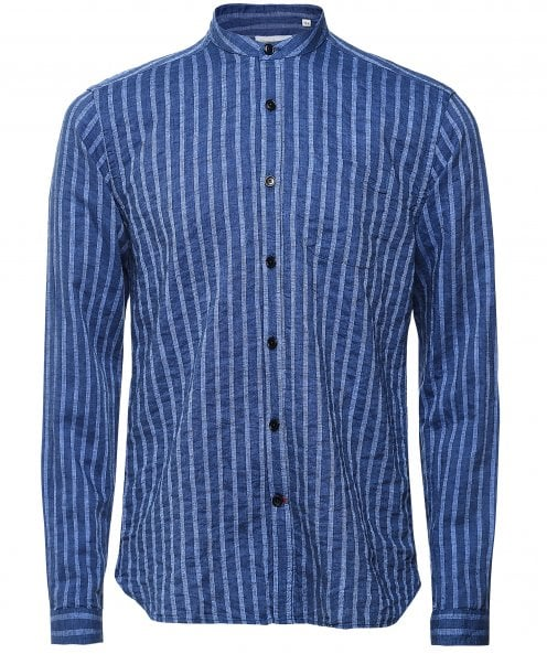 Oliver Spencer Cotton Linen Striped Grandad Shirt