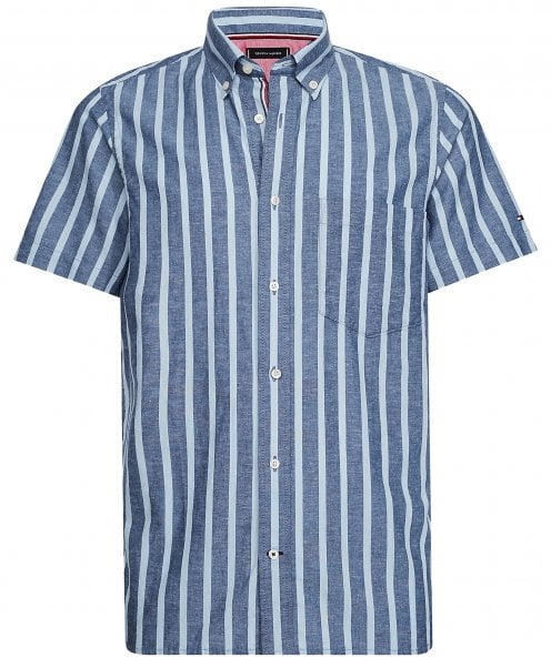 Tommy Hilfiger Slim Fit Linen Cotton Striped Shirt