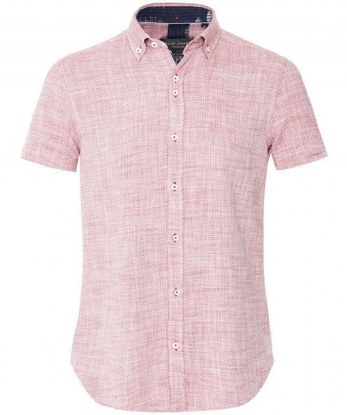 Guide London Textured Micro Pattern Short Sleeve Shirt