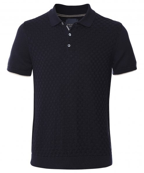 Guide London Chequerboard Knitted Polo Shirt