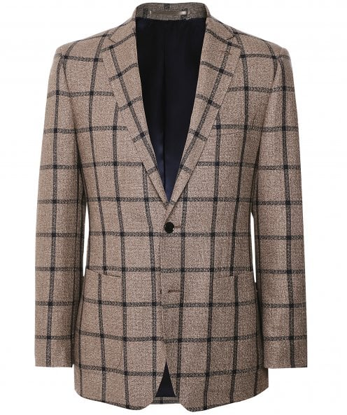 Munro Linen Silk Windowpane Check Jacket