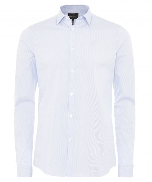 Armani Stretch Cotton Poplin Striped Shirt