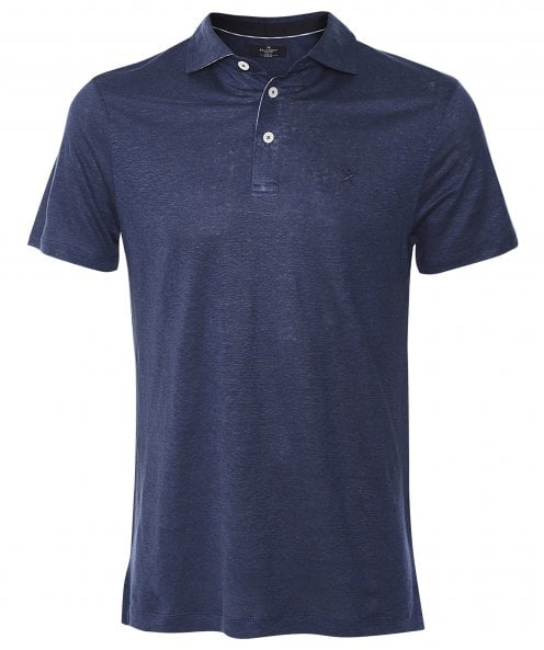 Hackett Slim Fit Striped Linen Trim Polo Shirt