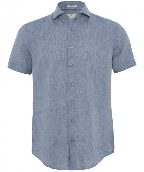 Thomas Maine Tailored Fit Linen Short Sleeve Roma Shirt