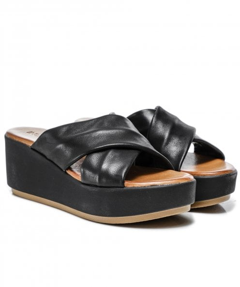 Inuovo Leather Crossover Wedge Sliders