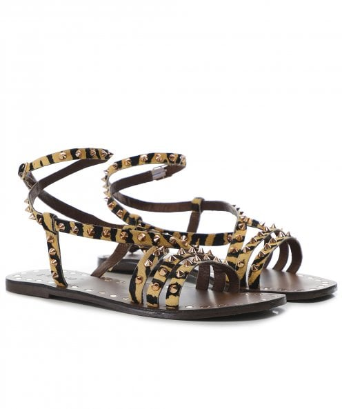 Inuovo Leather Studded Tiger Gladiator Sandals