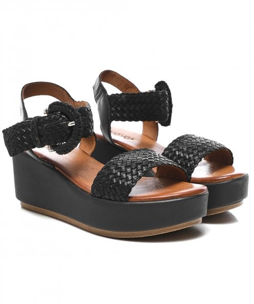 Inuovo Woven Leather Wedge Sandals