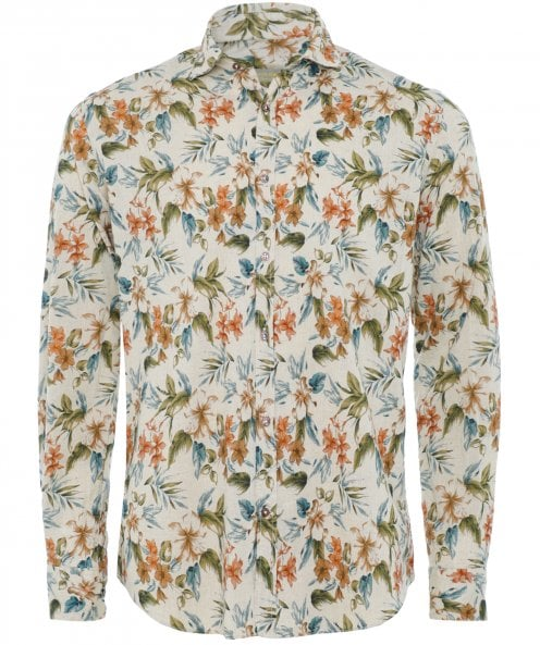 Seeker Groove Cotton Linen Floral Shirt