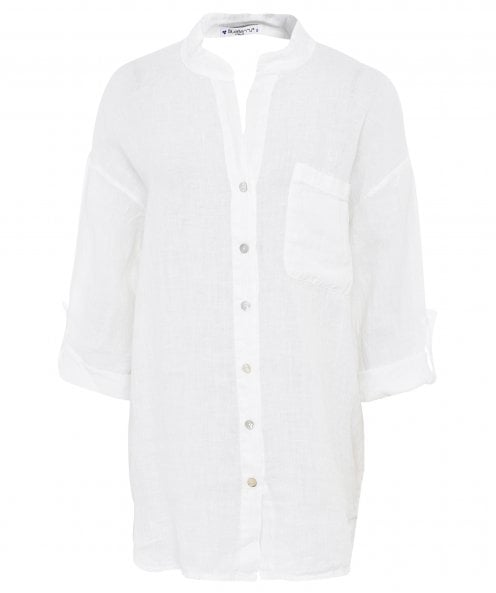Blueberry Italia Cut Out Linen Shirt